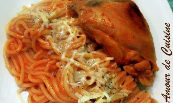 Spaghetti au poulet / spaguettis au poulet