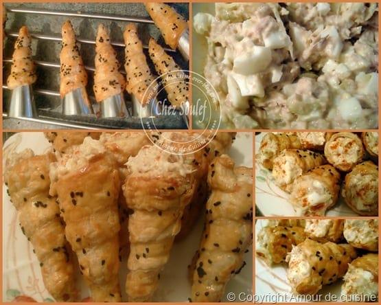 Très cornets salés a la crème au thon - Amour de cuisine SD69