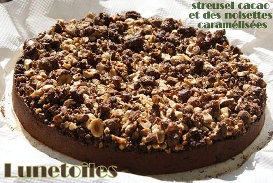 streusel cacao et des noisettes caramélisées