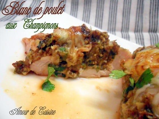 blanc de poulet champignons chapelure