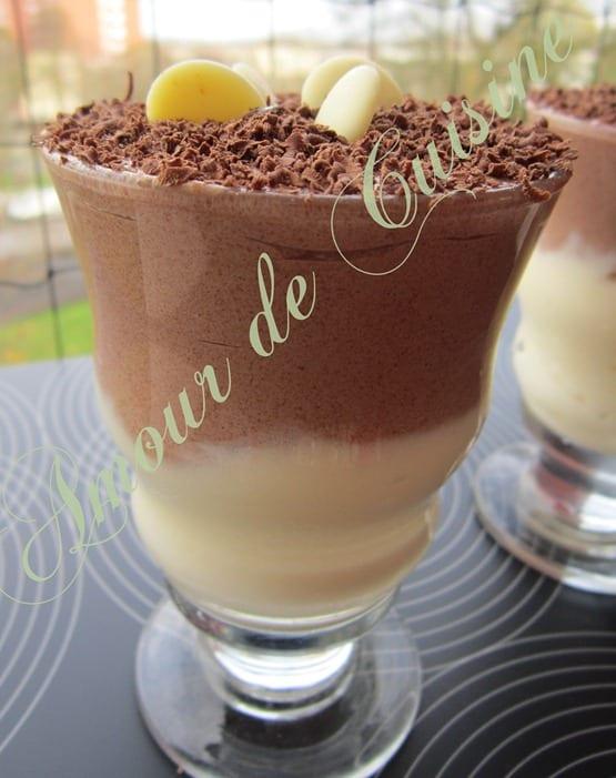 Duo mousse au chocolat noir et blanc