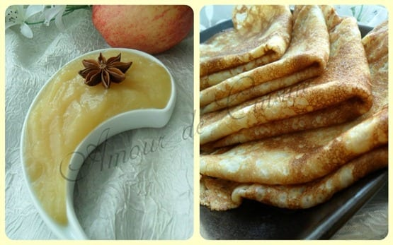 crepes et compote de pommes