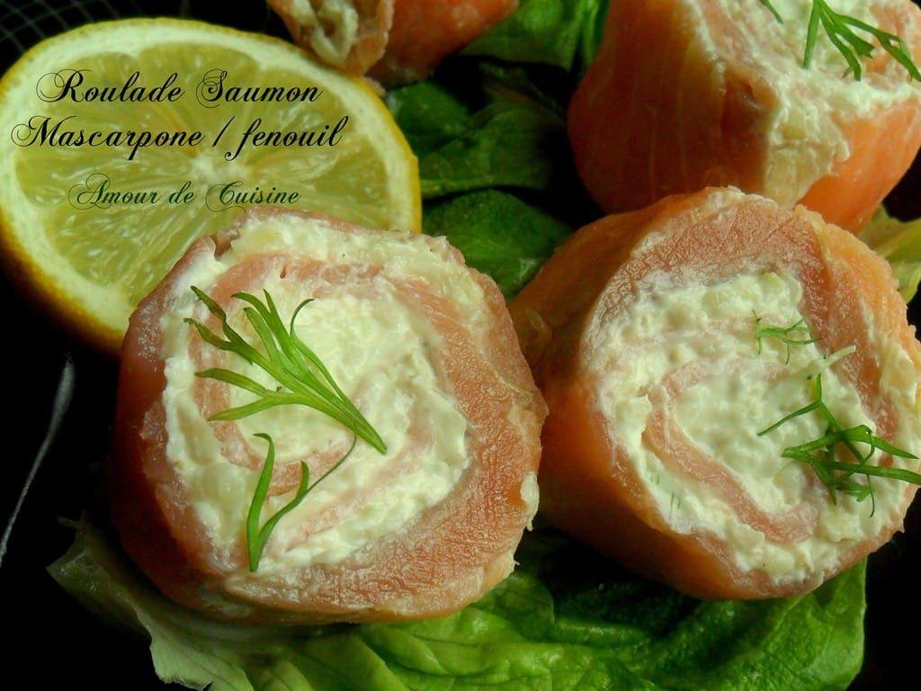 roulades saumon fumé mascarpone et fenouil, amuses bouches faciles