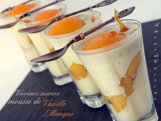 verrines sucrees, mousse a la vanille, mousse a la mangue