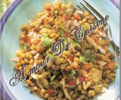 Salade au thon et lentilles