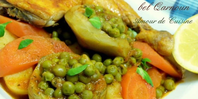 Tajine de petits pois aux artichauts tajine jelbana for Amour de cuisine algerienne