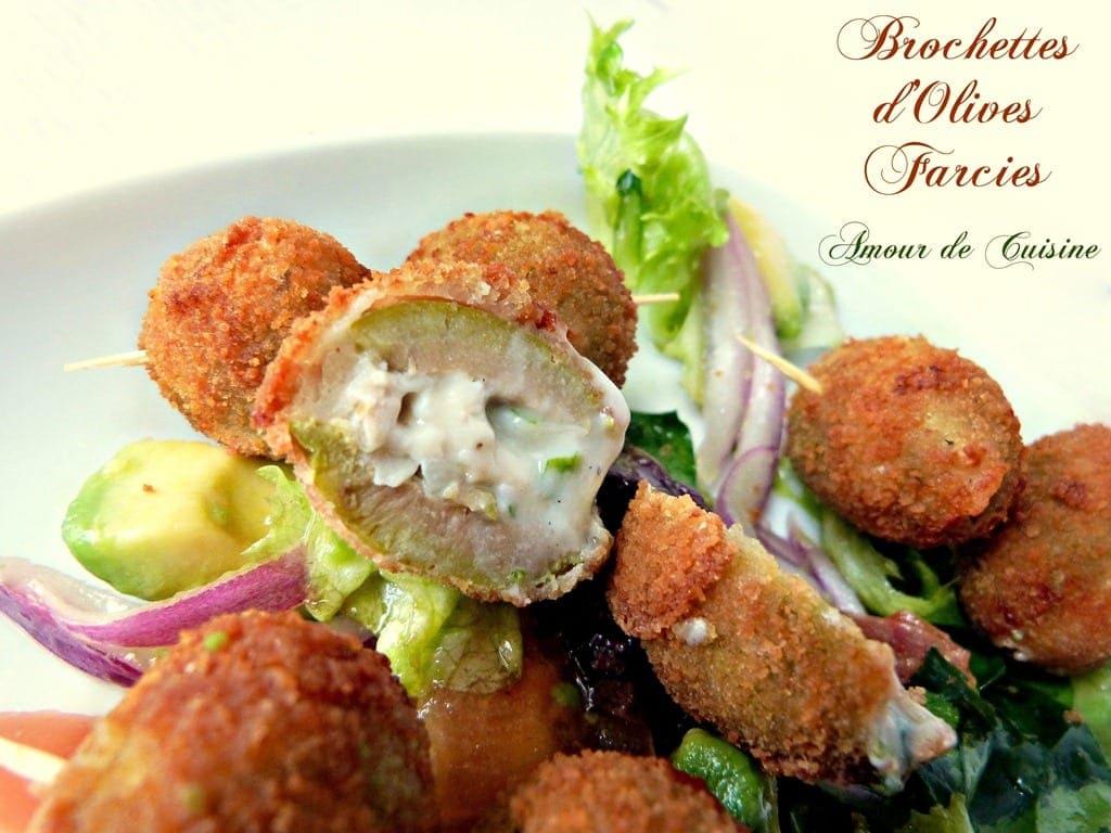Brochettes d 39 olives farcies amour de cuisine - Brochettes aperitives sans cuisson ...