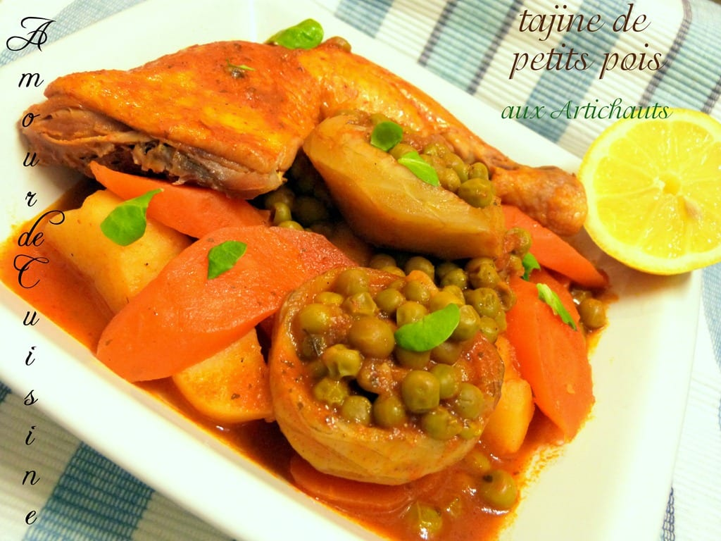 Tajine jelbana tajine de petits pois aux artichauts for Petit pois cuisine