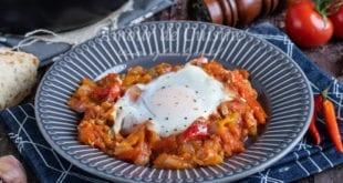 recette chakchouka au oignons et oeufs