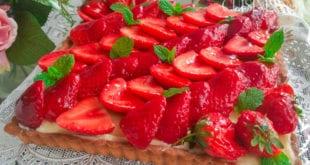 tarte aux fraises à la crème patissiere