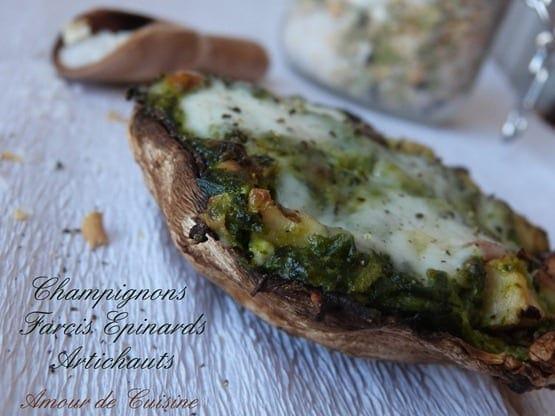 champignon farcis aux artichauts et epinards