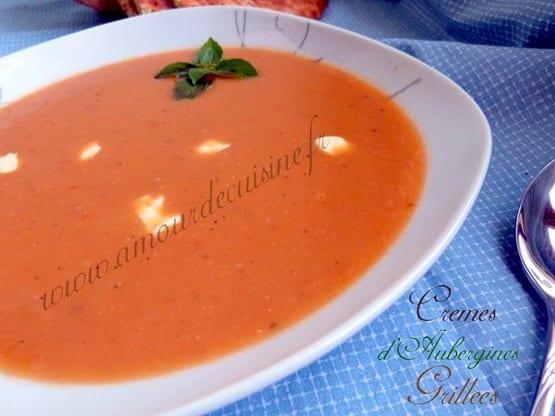 creme d'aubergines grillees, soupe d'aubergines