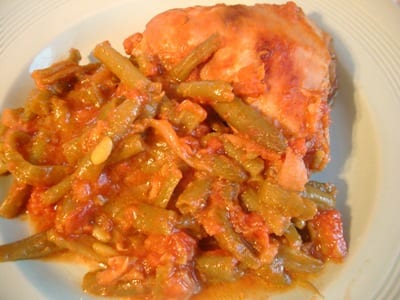 tajine d'haricots verts au poulet et oignon