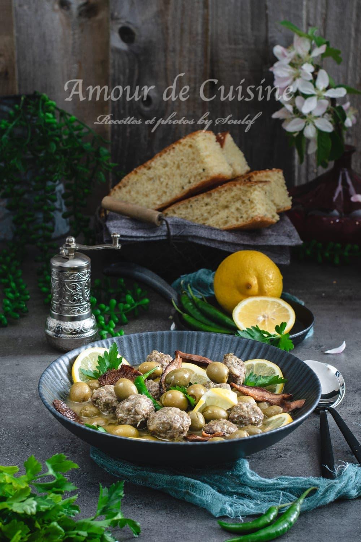 tajine aux olives et viande hachee