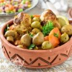tajine de poulet aux olives et champignons