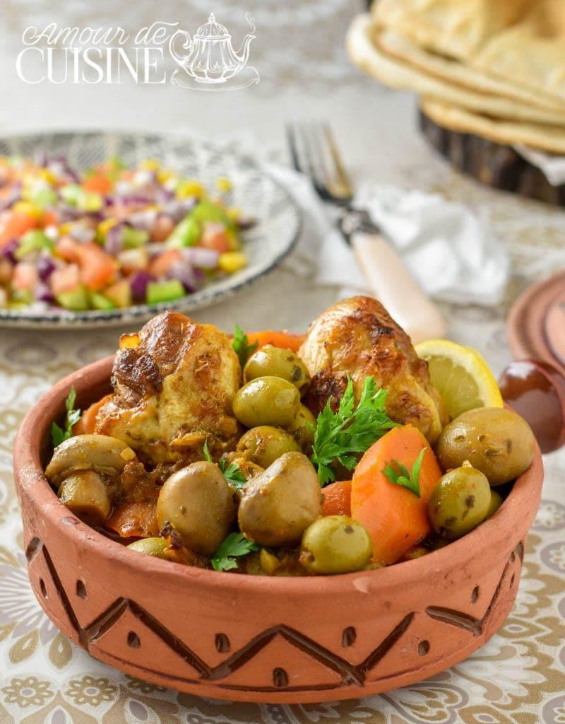 tajine de poulet aux olives et champignons 3