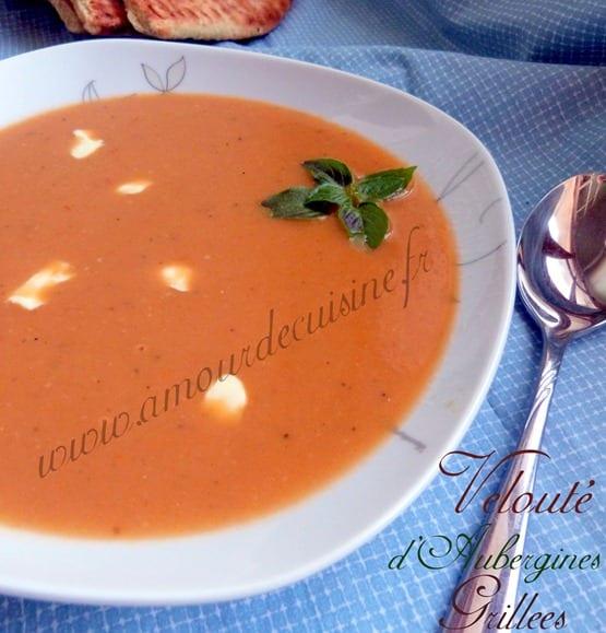 soupe veloutée d'aubergines grillées