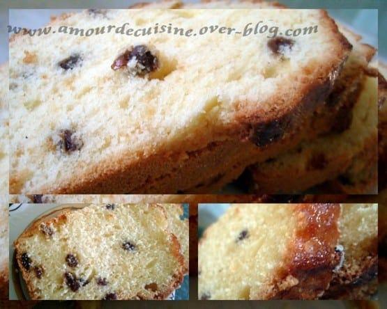 Cake au citron et raisins secs