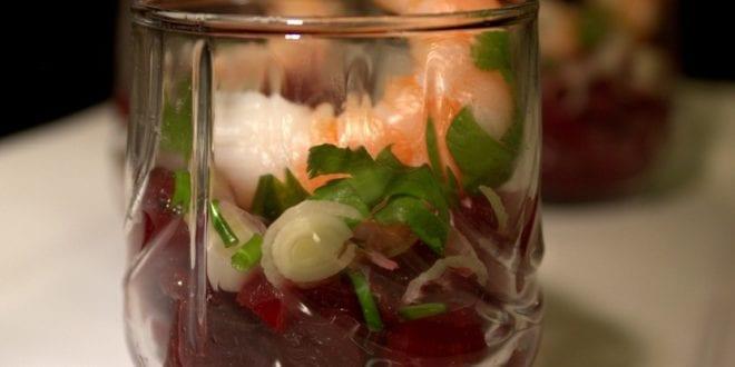 Verrines pour apéros / betteraves et crevettes