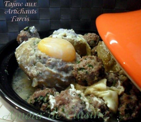 tajine d'artichauts farcis a la viande hachee et oeufs