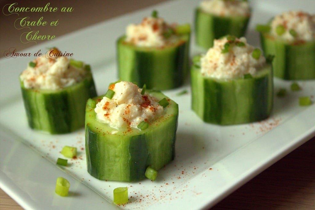 Concombre au ch vre et crabe amour de cuisine - Amuse bouche sans cuisson ...