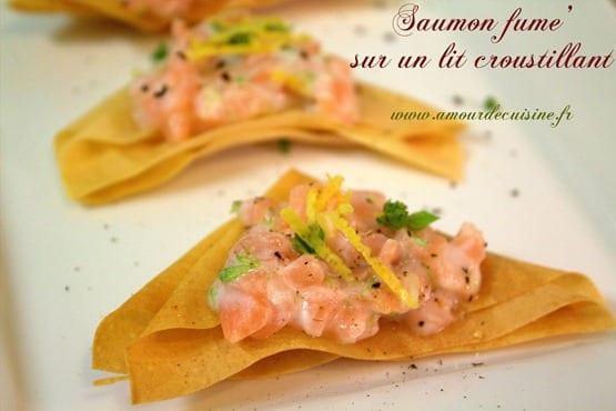 Amuse bouche au saumon fum et feuilles de bricks amour for 1 amour de cuisine
