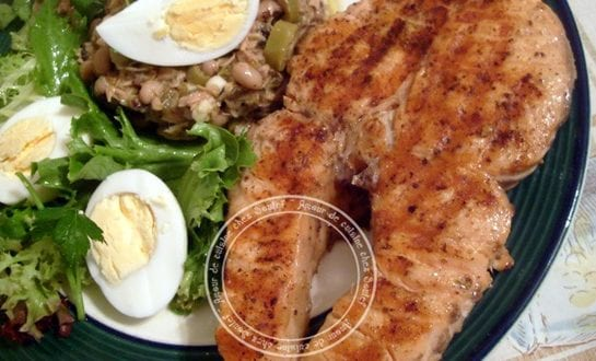 Saumon grillé a la plancha et Salade haricots oeil noir