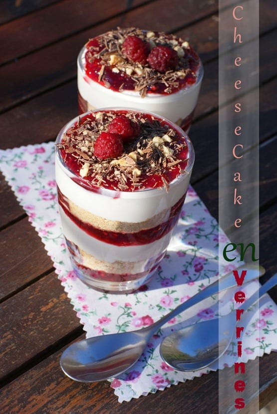 verrine cheesecake a la confiture de framboise