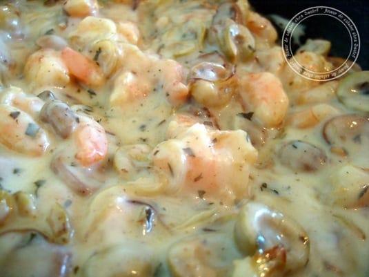 gratin de crêpes aux crevettes