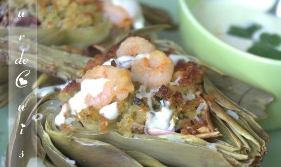 Artichauts farcis aux crevettes et sauce Aïoli