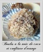 boules a la noix de coco et confiture d'orange, gateaux sans cuisson