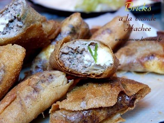 bricks a la viande hachee, recettes du ramadan