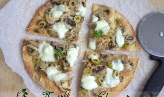Pizza tortillas aux champignons