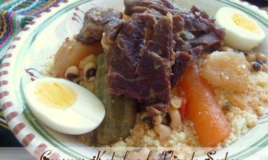 couscous kabyle a la viande séchée: couscous au guedid