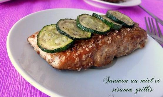 repas de fêtes / saumon grillé au miel et sesames