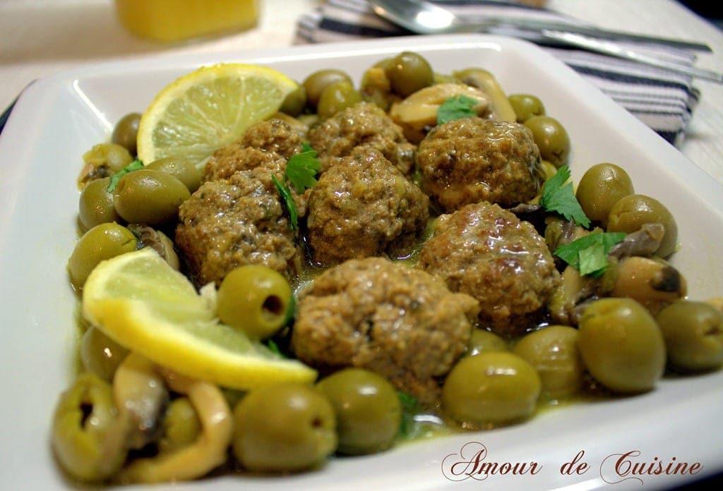 tajine de viande hachée aux olives