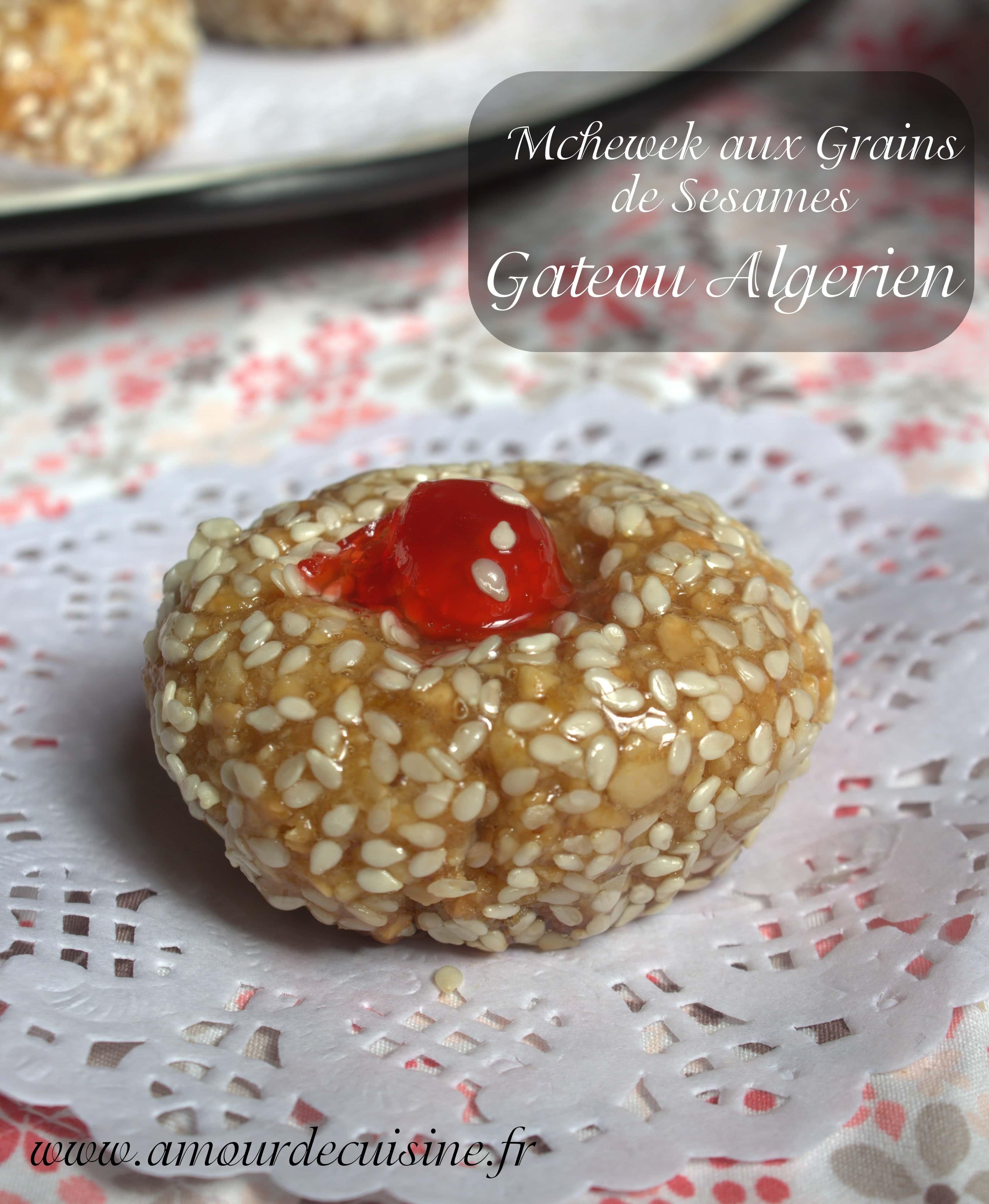 Mchewek aux grains de sesame gateau algerien conomique for Amour de cuisine