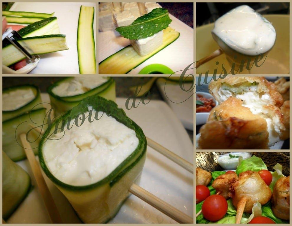 Étapes de préparation des Beignets de courgette à la féta et à la menthe