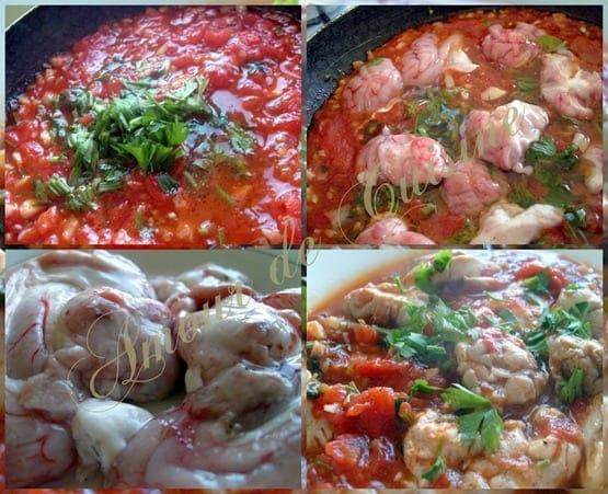 cervelle d'agneau en sauce tomate - chtitha mokh