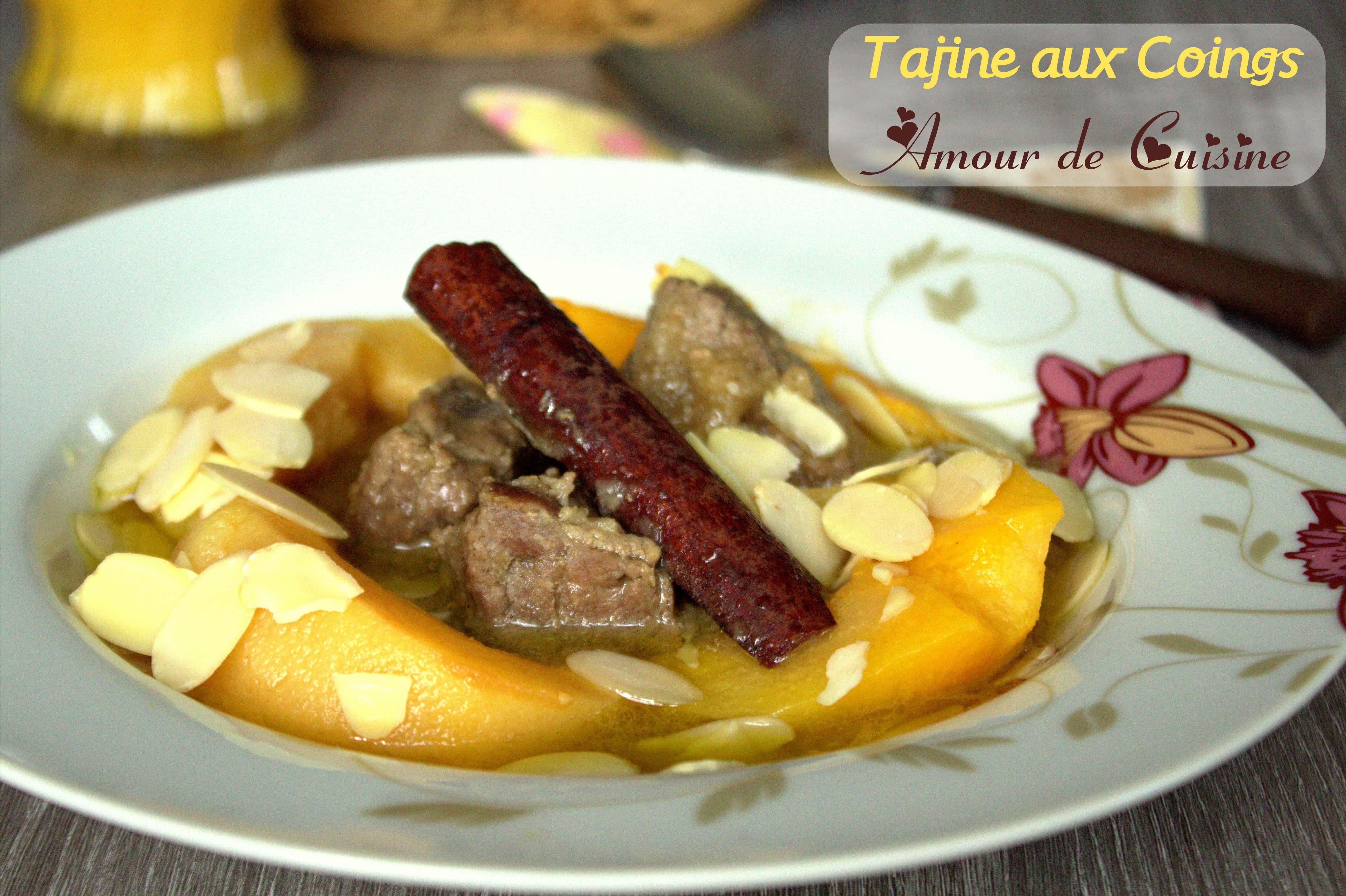 Tajine d 39 agneau aux coings amour de cuisine for Amoure de cuisine