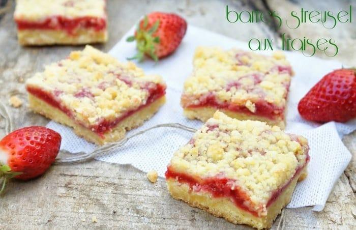 barres streusel aux fraises