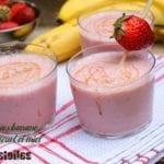 smoothies banane fraises yaourt et miel