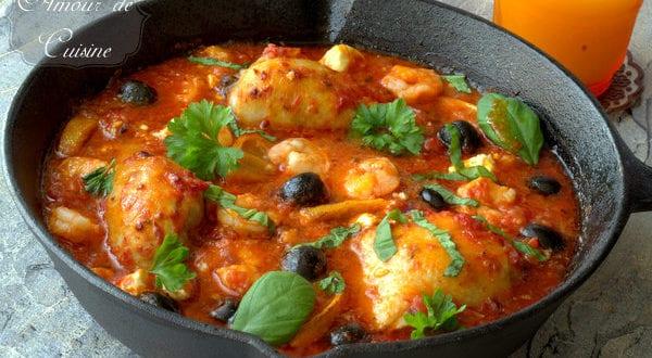 plat méditerranéen au poulet et crevettes