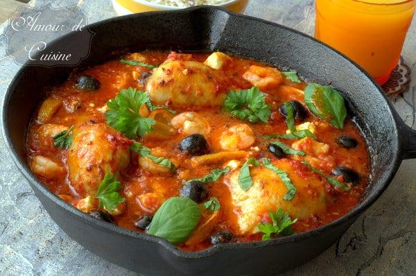 plat mediterraneen au poulet et crevettes 056