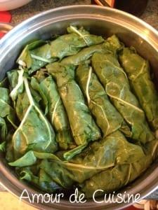 feuilles de blettes farcies a la viande hachee, recette libanaise