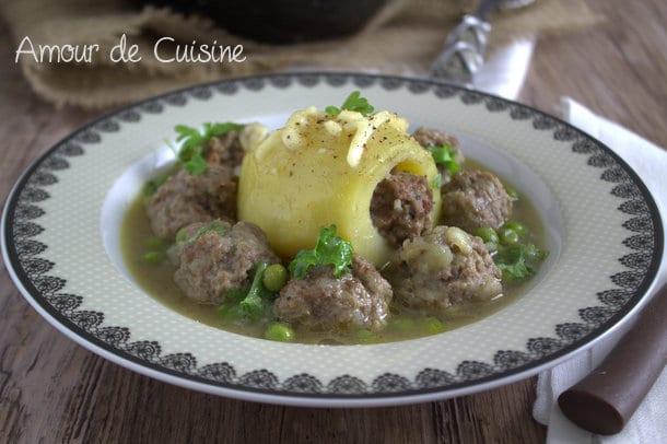 dolma batata, pommes de terre farcies a la viande hachee