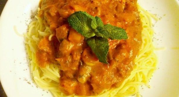 Spaghettis sauce rosée aux crevettes