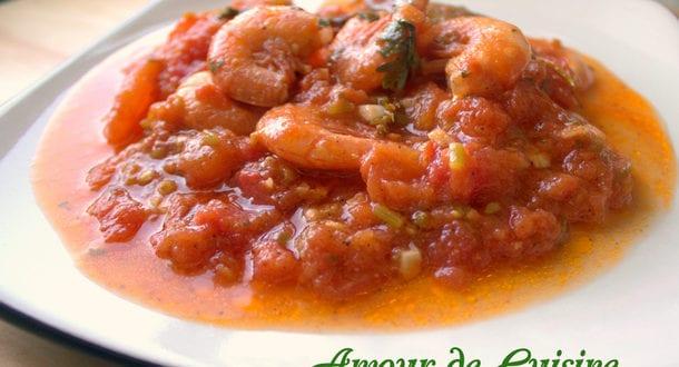 crevettes en sauce tomate