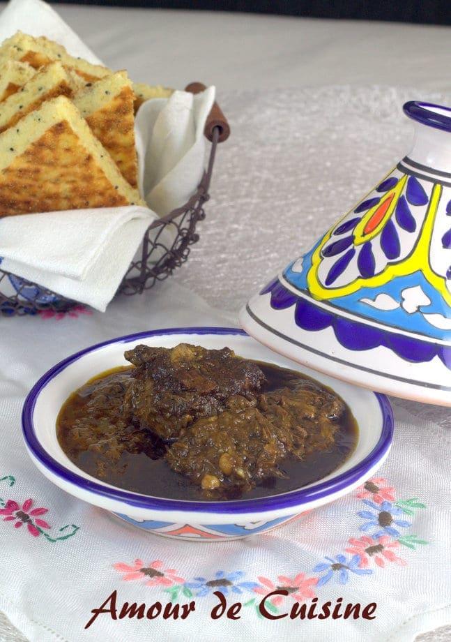 Mouloukhiya ou mloukhiya au boeuf
