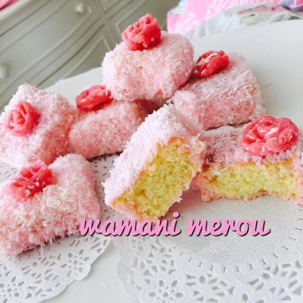 Gateaux lamingtons roses amour de cuisine for Amour de cuisine arabe